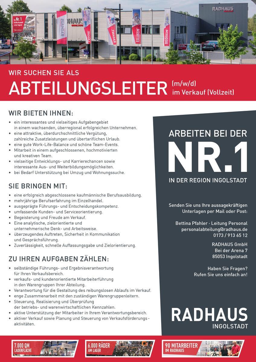 Jobbeschreibung RADHAUS Ingolstadt Abteilungsleiter Verkauf